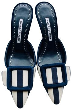Get the must-have sandals of this season! These Manolo Blahnik White and Dark Blue Maysalebi Striped Mules Sandals Size EU (Approx. US Regular (M, B) are a top 10 member favorite on Tradesy. Mule Sandals, Open Toe Sandals, Manolo Blahnik Sandals, Louis Vuitton Speedy 30, Satin Pumps, Slingback Sandal, Metallic Leather, Leather Pumps, Leather Crossbody Bag