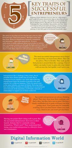 5 traits of the successful Entrepreneurs --- Infographic #Success #Entrepreneurship