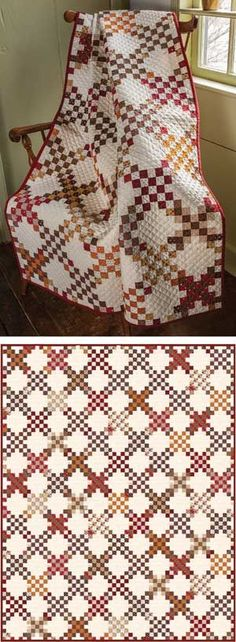 """PRAIRIE CROSSING QUILT KIT So typical of the times. You'll need to tell them it's not actually an antique! Kit has Julie Hendricksen's piecing directions, and fabrics (prints and an ivory solid) for the top and binding. • Quilt Size: 57"""" x 72"""" Throw • Project: Pieced • Project rating: Intermediate Price: $ 99.99"""