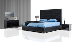 Modrest Lyrica Black Leatherette Tall Headboard Queen Size Bed VGJY4011-BLKProduct :71868Features:Upholstered In Black LeatheretteTufted HeadboardAlso Available With CrystalsDimensions:QueenSize Bed : W:86