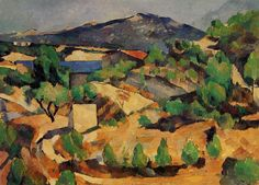 lawrenceleemagnuson:  Paul Cézanne Mountains Seen from L'Estaque (1886)oil on paper mounted on canvas. 54 x 73 cmNational Museums and Galleries of Wales, UK