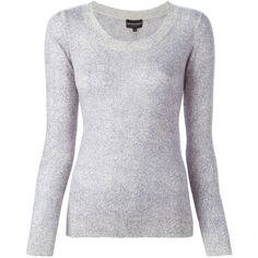 Emporio Armani Cashmere Sweater ($155) ❤ liked on Polyvore featuring tops, sweaters, lilac, cashmere sweater, cashmere crew neck sweater, marled sweater, lilac top and lilac sweater