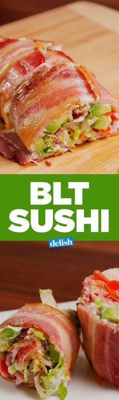 """BLT Sushi INGREDIENTS 10 slices bacon 2 tbsp healthy mayo 1 c. chopped tomatoes 1 c. shredded romaine kosher salt Freshly ground black pepper: Give this """"sushi"""" a try for a delicious yet nutritious low carb and keto meal. Bacon Recipes, Paleo Recipes, Low Carb Recipes, Appetizer Recipes, Cooking Recipes, Appetizers, Keto Foods, Ketogenic Recipes, Keto Meal"""