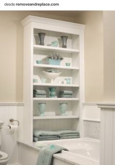 bathroom storage ideas - Re-organize your towels and toiletries during your next round of spring cleaning. Check out some of the best small bathroom storage ideas for Bathroom Shelf Decor, Small Bathroom Storage, Small Storage, Bathroom Organization, Bathroom Furniture, Storage Spaces, Storage Ideas, Bathroom Ideas, Small Bathrooms