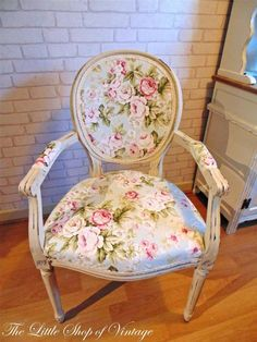 French Louis Carver Bedroom Hall Chair Floral Shabby Chic Annie Sloan Old Ochre
