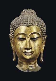 A GILT-BRONZE HEAD OF BUDDHA THAILAND, AYUTTHAYA PERIOD, KAMPHENG PHET STYLE, LATE 16TH CENTURY