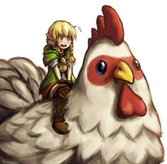 #Linkle riding a giant cucco.