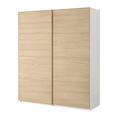 PAX Wardrobe with sliding doors - Pax Malm white stained oak veneer, white, 59x26x93 1/8  - IKEA