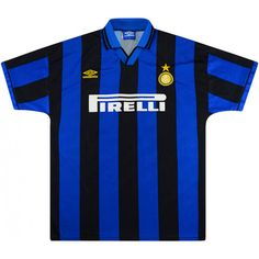 Umbro Inter Milan Match Worn Home Shirt Classic Football Shirts, Vintage Football Shirts, Football Kits, Graphic Design Inspiration, Milan, Italy, Game, Board, T Shirt