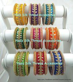 Silk Thread Jumkas, Silk Thread Bangles Design, Silk Bangles, Thread Jewellery, Thread Art, Indiana, Bangles Making, Silk Art, Diy Earrings