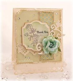 2014 pale green lace Thank You Note, window pattern note.