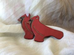 Cardinal Ornament - Christmas Ornament - Ceramic Ornament by GlazeGirlDesigns on Etsy