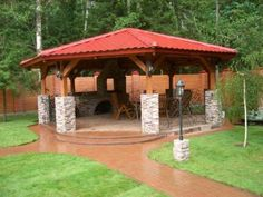 Fun She Shed Conversion Ideas Outdoor Gazebos, Backyard Gazebo, Garden Gazebo, Backyard Patio Designs, Pergola Patio, Backyard Landscaping, Outdoor Structures, Outdoor Garden Lighting, Outdoor Fire