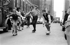 Skateboarding in New York City, 1965.        By Bill Eppridge      By Bill Eppridge