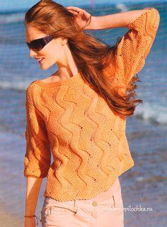 Очень красивый пуловер с рукавом три четверти