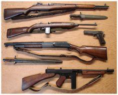Garand - Carbine cal - Winchester 1897 Trench Gun -Thompson Sub Machine gun Colt 1911