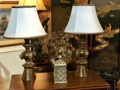 """Handsome Pair of Lamps  26.5"""" Tall   $350   Dealer #146  LOST . .again Antiques & Decor 148 Riveredge Dallas, TX 75207"""