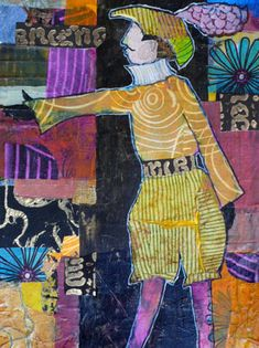 Daily Painters Abstract Gallery: 'Rupert Recites Shakespeare' Mixed Media Contemporary Male Figurative Painting by Melody Cleary, Oregon Art...