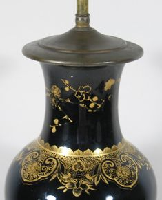 iGavel Auctions: Chinese Gilt Decorated Mirror Black Porcelain Vase / Lamp, 19th/20th C. L1SF9