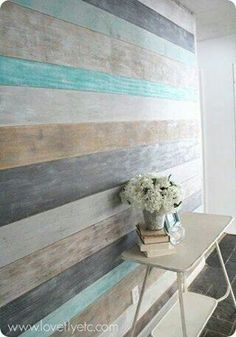Possible wall treatment for kitchen..but just with 2 beach pastels. bench in front?