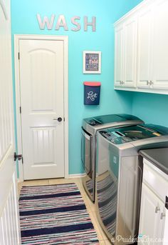 Bright & happy organized laundry room makeover - Under $100! (Wall Paint: ACE Valspar Dip in the Pool)