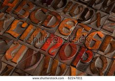 alphabet abstract - vintage wooden letterpress printing blocks (Abbey typeface)   with patina from color inks