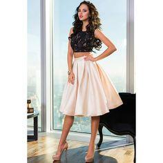 Knee Length 2015 Satin Two Backless Prom Dress (£103) via Polyvore