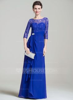 A-Line/Princess Scoop Neck Floor-Length Beading Sequins Cascading Ruffles Zipper Up Sleeves 3/4 Sleeves No 2016 Royal Blue Spring Summer Fall General Plus Chiffon Lace Mother of the Bride Dress