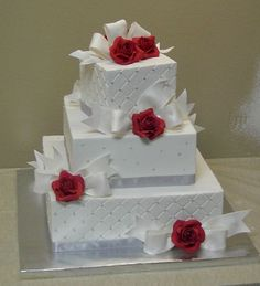 roses and bows - buttercream with gumpaste bows and roses