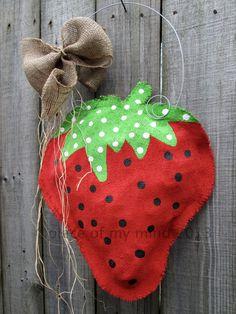 Strawberry Burlap Door Hanging Natural burlap by nursejeanneg
