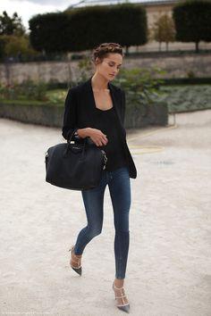 Weekend look. Simple in a black blazer and denim.