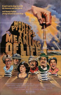 "Film: Monty Python's The Meaning of Life (1983) Year poster printed: 1983 Country: USA Size: 27"" x 41"" Artist: Bill Garland This is a vintage one-sheet movie poster from 1983 for Monty Python's The Me"