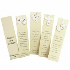 Looking for a unique and completely Eco-Friendly Favor? Our Plantable Wedding Bookmarks are all that and more! Each bookmark is printed on 100% post-consumer waste stock -- personalized with your names and event date and choice of 4 charming wedding verses. Each includes a detachable plantable adornment crafted of 100% recycled cotton, fresh flower