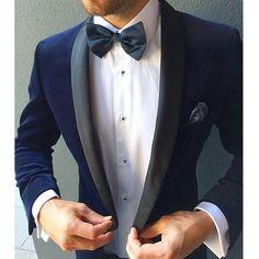 Custom velvet dinner jacket for the dapper groom by Urbbana.