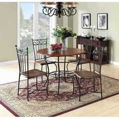 $195 - 5-Piece Dinette Set, Wood and Metal