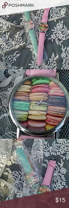 Macaroon watches.  OSFM 🍧🍭🍒 MACAROON WATCHES!!!!🍒🍭🍧 GREAT STOCKING STUFFER🌲🎁 Some boutique items may not have tags but comes in original packaging.🌲🎁🍒 15.00 EA. Accessories Watches