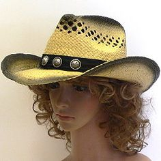 b622c421 Distressed coloring adds to the rugged look of these cowboy hats with a  pinch front and