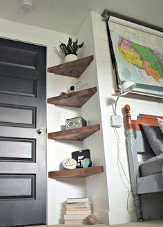 13 ideas for simple living room shelves DIY projects, ., 13 ideas for simple living room shelves DIY projects, Floating Corner Shelves, Corner Shelving, Glass Shelves, Floating Wall, Diy Corner Shelf, Wood Shelves, Corner Storage, Small Corner Decor, Corner Wall Decor