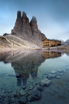 Vajolet towers in group of Catinaccio, with refuge Re Alberto, Dolomites, Italy.