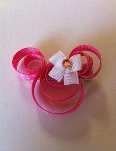 Pink Minnie Mouse ribbon sculpture Disney hair clip