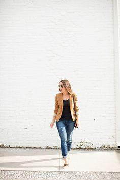 tan blazer + animal print flats + jeans + black blouse