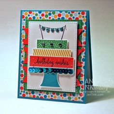 Birthday Wishes Happy Birthday Cake Fancy Greeting Card Handmade in Blue Red Yellow Green by JanTink on Etsy