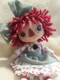 Handmade Primitive Raggedy Ann Annie doll Purple Floral Green Gingham Apron #NaivePrimitive