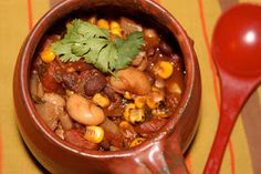 Slow-Cooker Vegetarian Chili with Roasted Corn