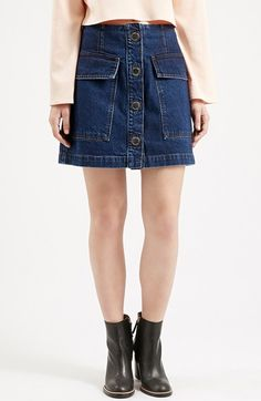 Topshop Button Front Denim Skirt (Nordstrom Exclusive) available at #Nordstrom