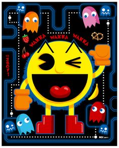"""How substantial is a mostly ghost diet, anyway? (""""Pac-Man"""" by Reis O& , Vintage Videos, Vintage Video Games, Retro Videos, Retro Video Games, Video Game Art, Classic Video Games, Retro Games, Wall Stickers World, Diy Wall Stickers"""