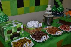 Fun food ideas at a Minecraft birthday party! See more party planning ideas at CatchMyParty.com!