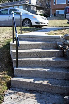 Do you have concrete steps? Our Simple Rail handrail kits make it easy to add railing to structures like a concrete wall or steps. Concrete Steps, Concrete Wall, Pipe Railing, Balustrades, Aging In Place, Home Projects, Porch, Stairs, Building