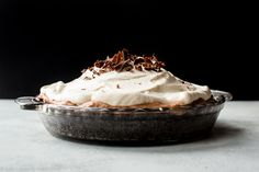 Sky high chocolate pie with chocolate mousse, Oreo crust, and whipped cream! Completely divine! Recipe on sallysbakingaddiction.com