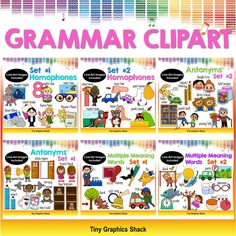 This huge set of English Language Arts Grammar bundle includes crisp, high-quality clipart images for multiple meaning words, antonyms, and homophones. There are 164 images in total: 82 in color, and 82 in black and white.